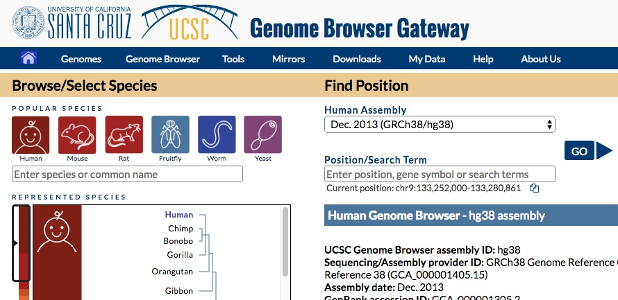 New UCSC Genome Browser gateway page design